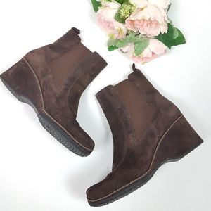 Rockport Genuine Suede Leather Wedge Ankle Booties